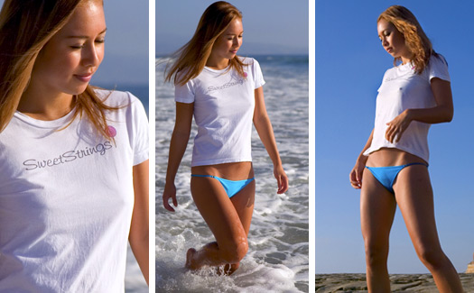 Rumi wearing our Short Sleeve T-Shirt - Sweetstrings Micro Bikinis by Sweetstrings Bikinis